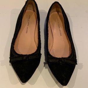 Marc Jacobs black suede flats with bow